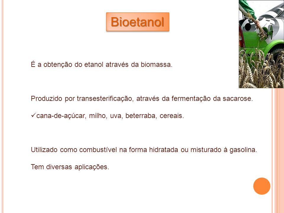 Bioetanol É a obtenção do etanol através da biomassa.