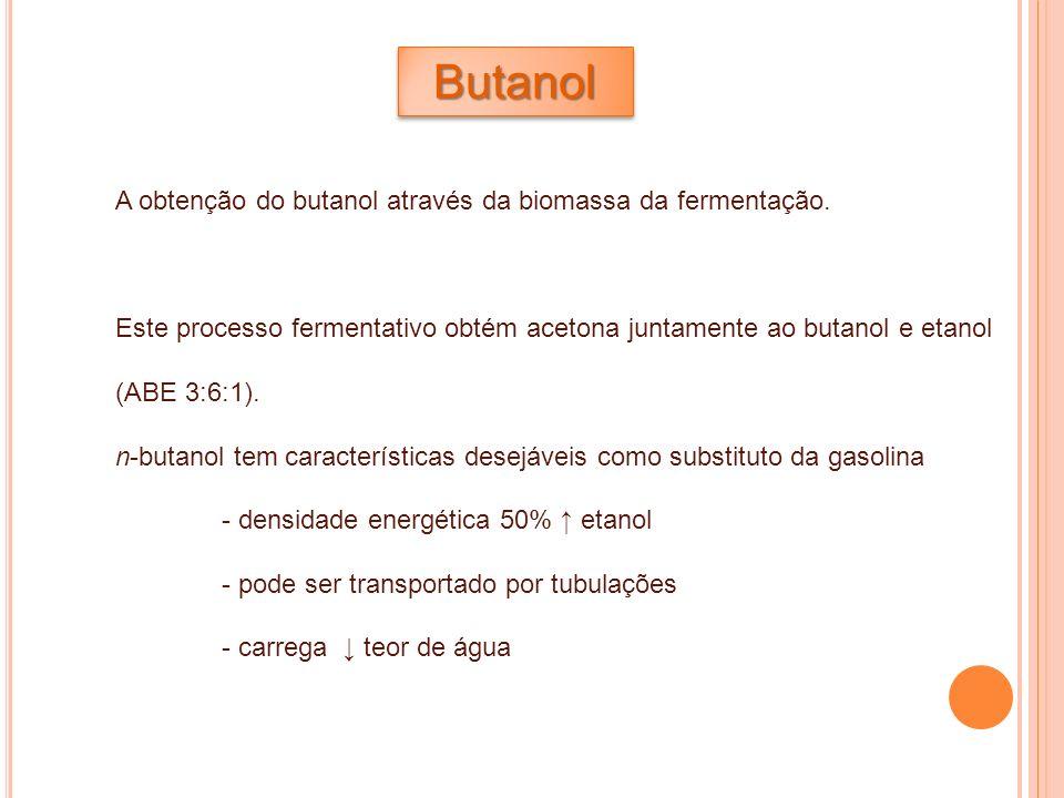 Butanol A obtenção do butanol através da biomassa da fermentação.