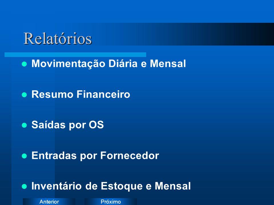 Relatórios Movimentação Diária e Mensal Resumo Financeiro