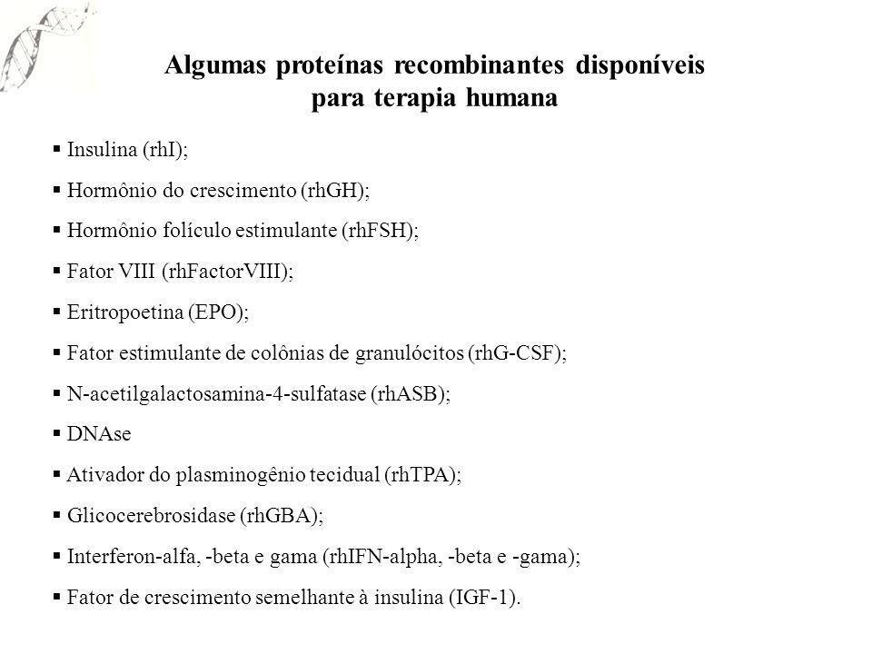Algumas proteínas recombinantes disponíveis