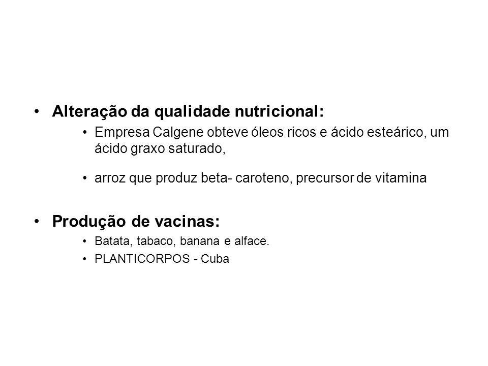 Alteração da qualidade nutricional:
