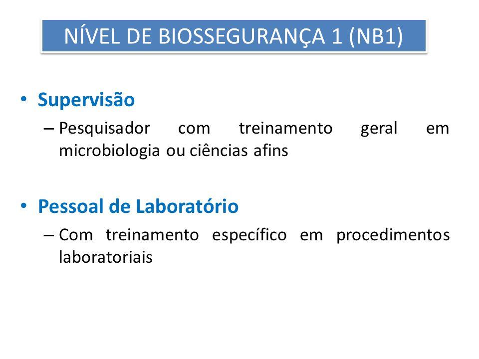 NÍVEL DE BIOSSEGURANÇA 1 (NB1)