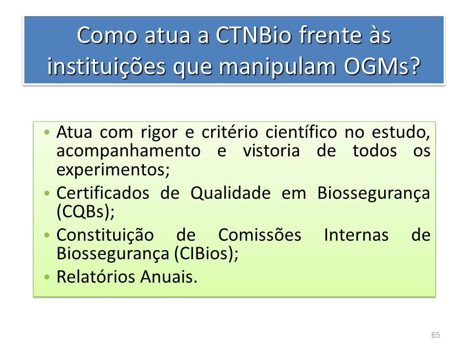 Como atua a CTNBio frente às instituições que manipulam OGMs
