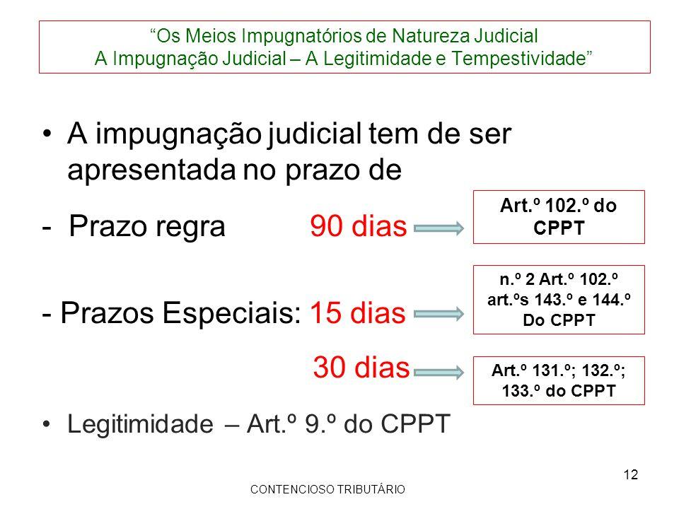 A impugnação judicial tem de ser apresentada no prazo de