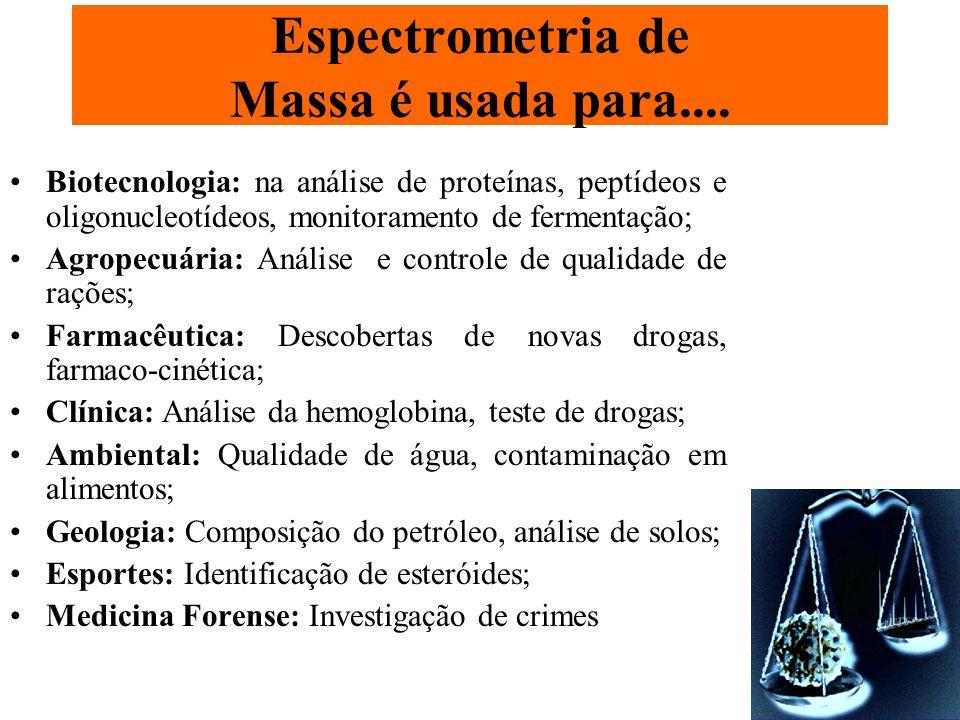 Espectrometria de Massa é usada para....