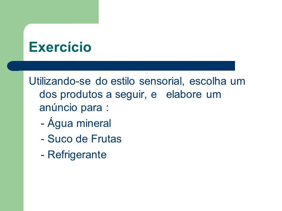 Exercício Utilizando-se do estilo sensorial, escolha um dos produtos a seguir, e elabore um anúncio para :