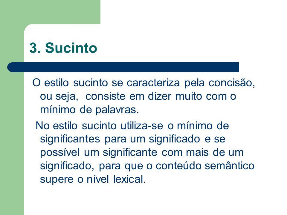 3. Sucinto O estilo sucinto se caracteriza pela concisão, ou seja, consiste em dizer muito com o mínimo de palavras.