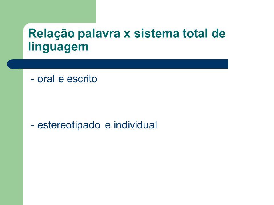Relação palavra x sistema total de linguagem