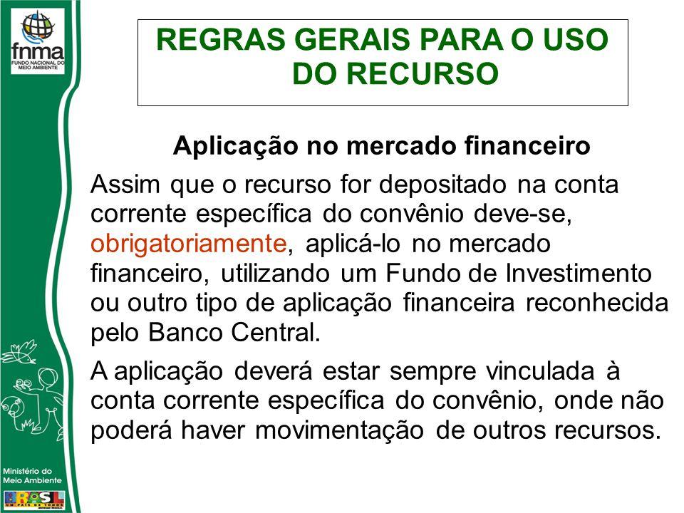 REGRAS GERAIS PARA O USO DO RECURSO Aplicação no mercado financeiro