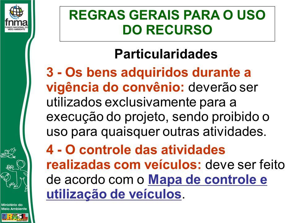 REGRAS GERAIS PARA O USO DO RECURSO