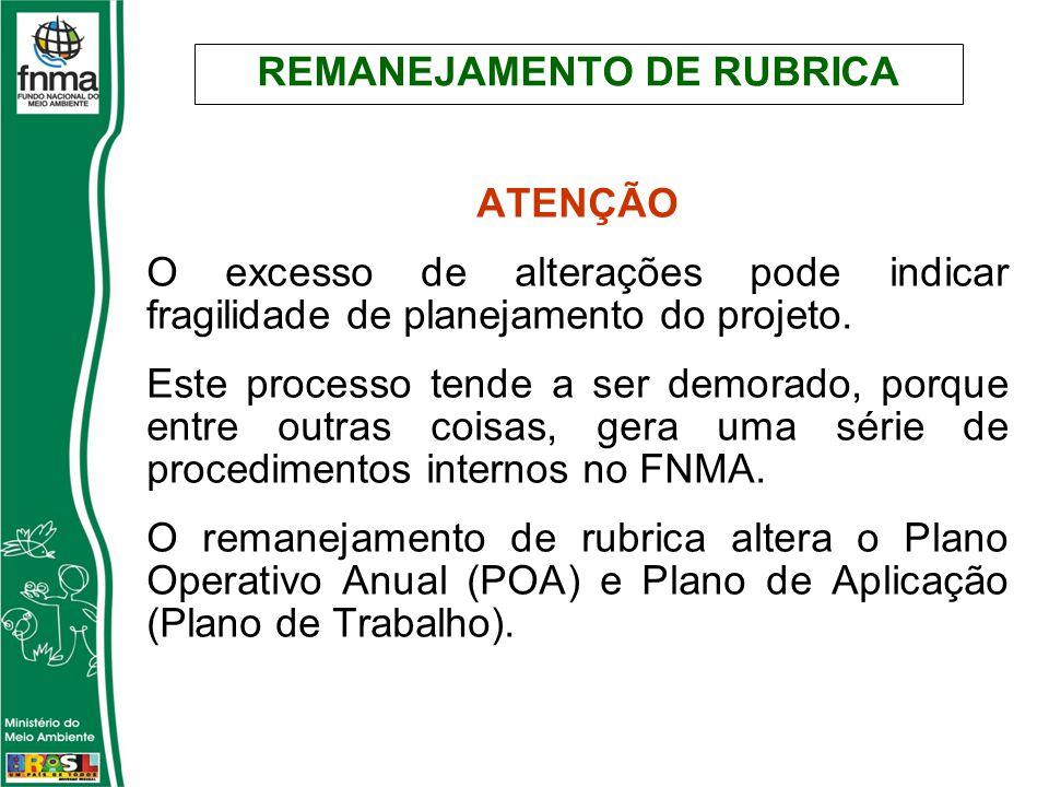 REMANEJAMENTO DE RUBRICA