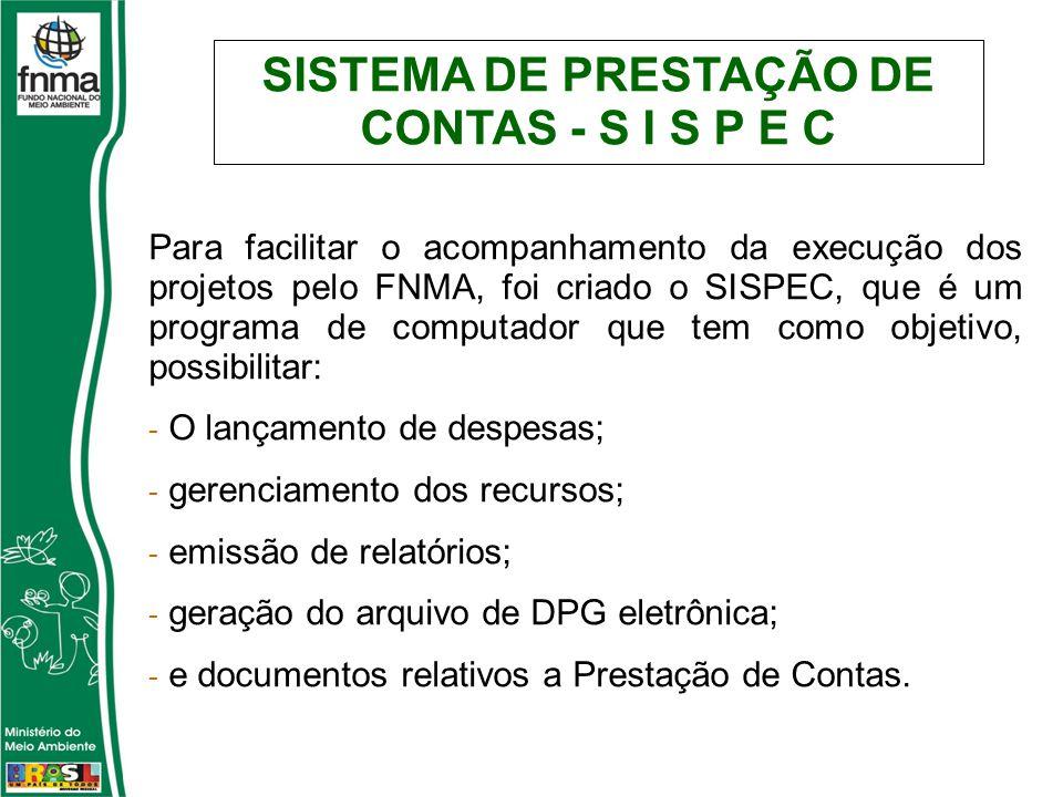 SISTEMA DE PRESTAÇÃO DE CONTAS - S I S P E C