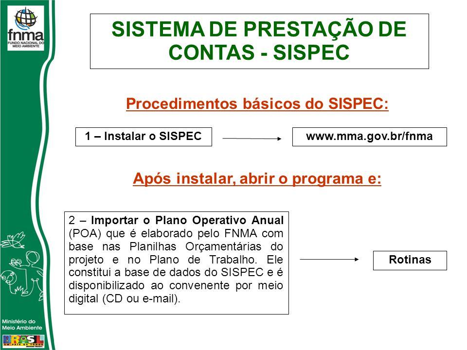 SISTEMA DE PRESTAÇÃO DE CONTAS - SISPEC