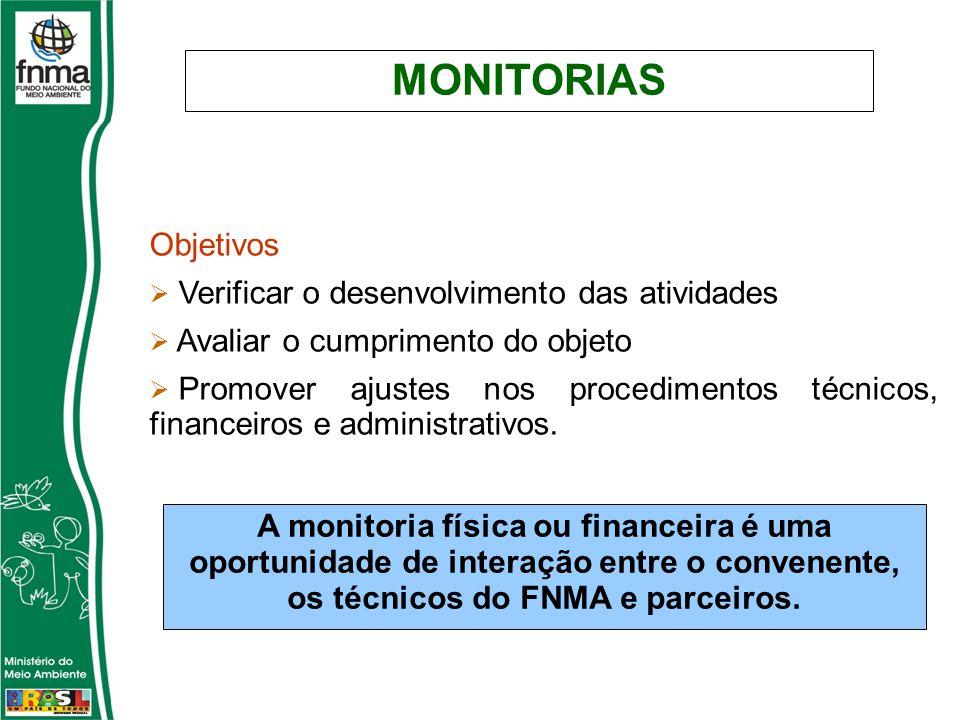 MONITORIAS Objetivos Verificar o desenvolvimento das atividades