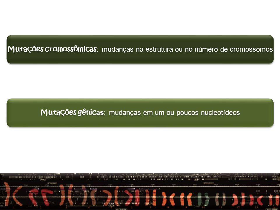 Mutações gênicas: mudanças em um ou poucos nucleotídeos