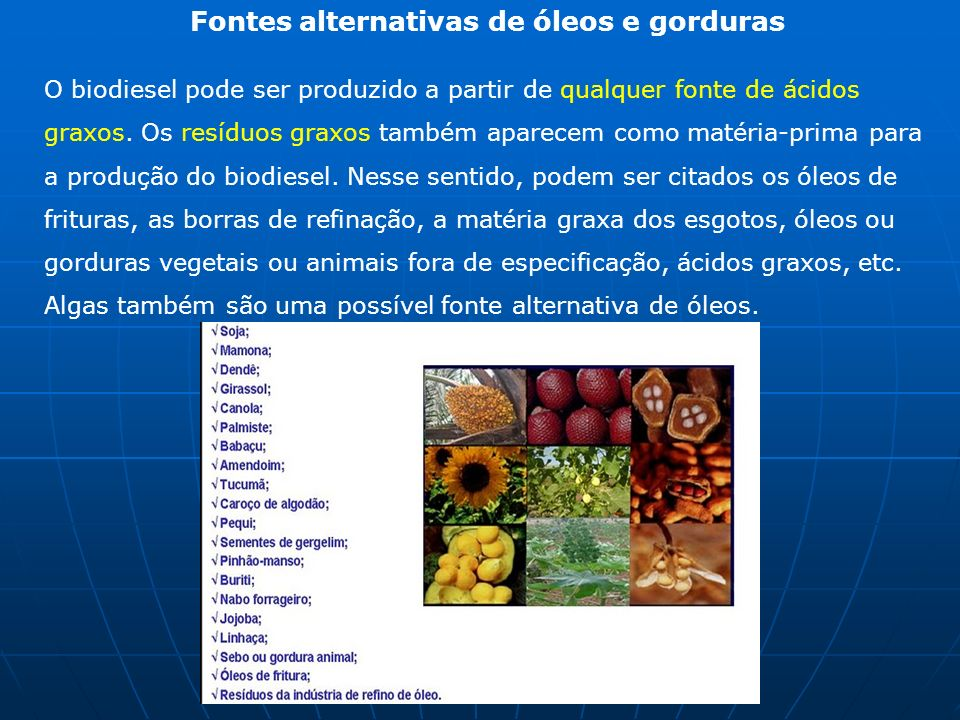 Fontes alternativas de óleos e gorduras