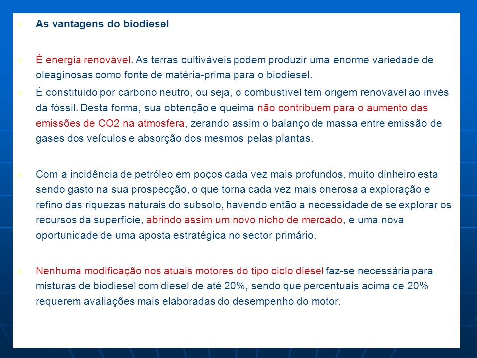 As vantagens do biodiesel