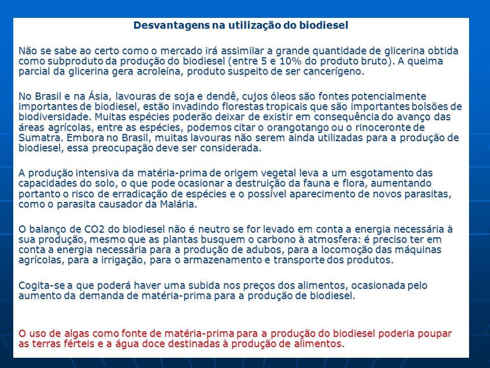 Desvantagens na utilização do biodiesel
