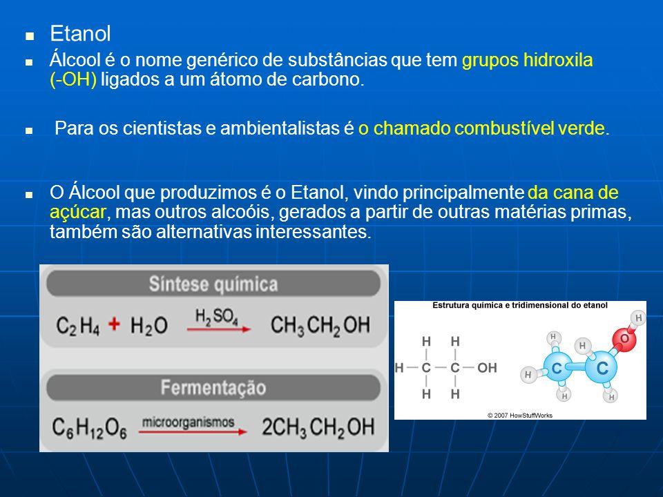 Etanol Álcool é o nome genérico de substâncias que tem grupos hidroxila (-OH) ligados a um átomo de carbono.