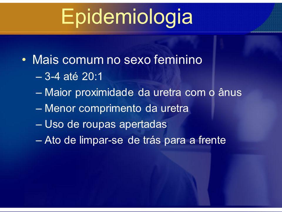 Epidemiologia Mais comum no sexo feminino 3-4 até 20:1