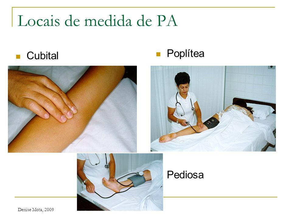 Locais de medida de PA Poplítea Pediosa Cubital Denise Mota, 2009
