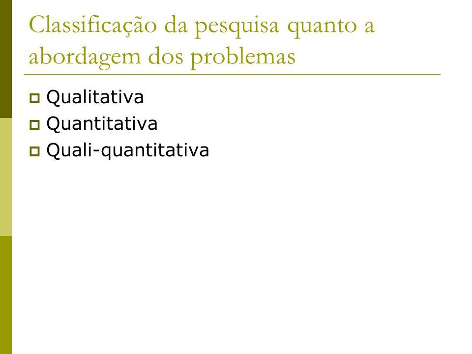 Classificação da pesquisa quanto a abordagem dos problemas