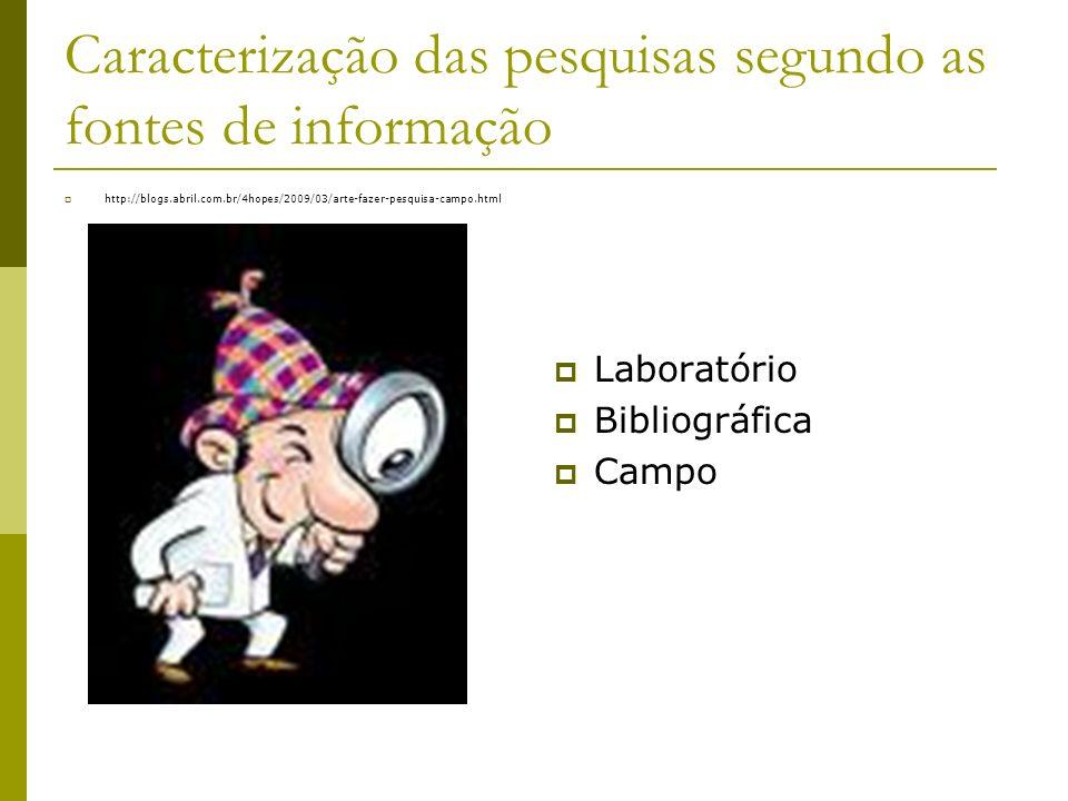 Caracterização das pesquisas segundo as fontes de informação