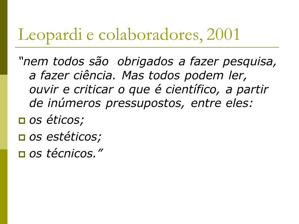 Leopardi e colaboradores, 2001