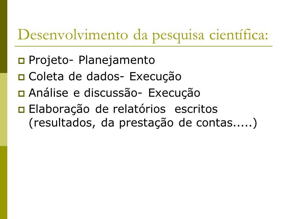 Desenvolvimento da pesquisa científica: