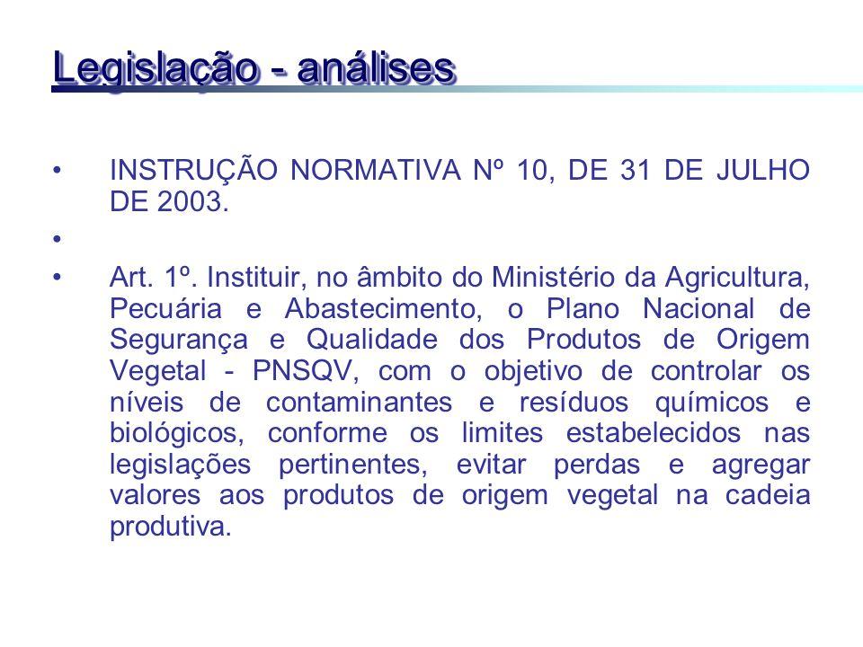 Legislação - análises INSTRUÇÃO NORMATIVA Nº 10, DE 31 DE JULHO DE 2003.
