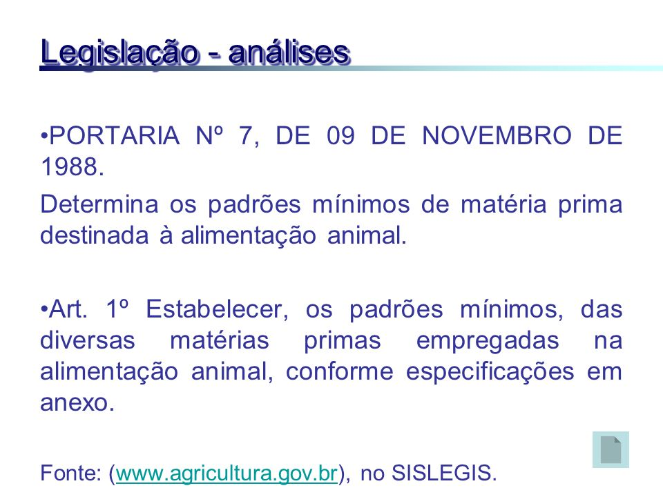 Legislação - análises PORTARIA Nº 7, DE 09 DE NOVEMBRO DE 1988.
