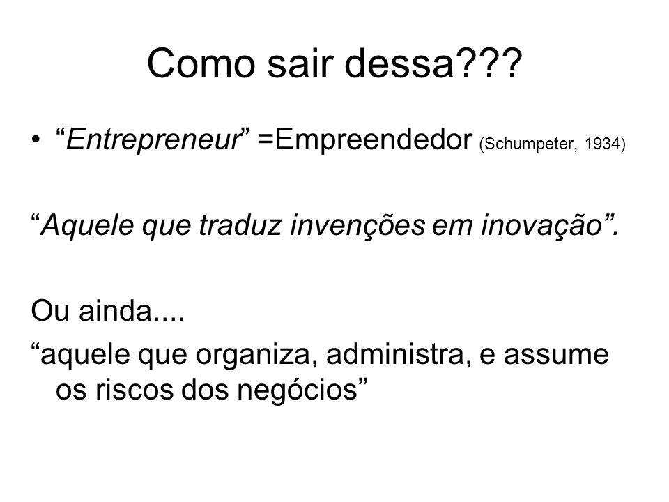 Como sair dessa Entrepreneur =Empreendedor (Schumpeter, 1934)
