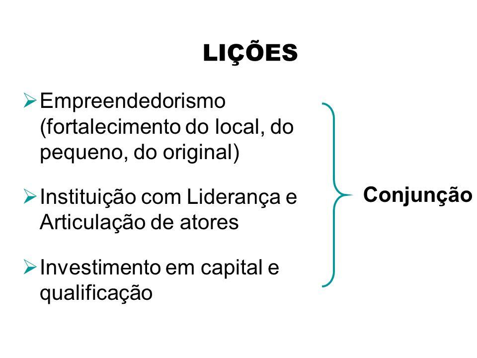 LIÇÕES Empreendedorismo (fortalecimento do local, do pequeno, do original) Instituição com Liderança e Articulação de atores.