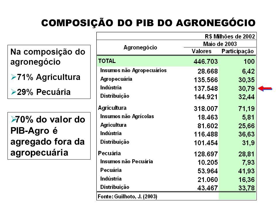 COMPOSIÇÃO DO PIB DO AGRONEGÓCIO