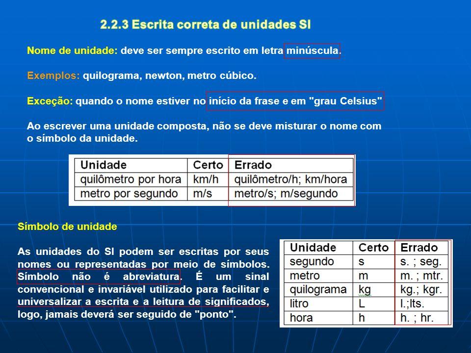 2.2.3 Escrita correta de unidades SI