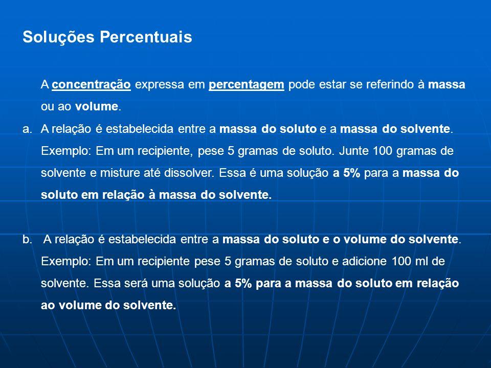 Soluções PercentuaisA concentração expressa em percentagem pode estar se referindo à massa ou ao volume.