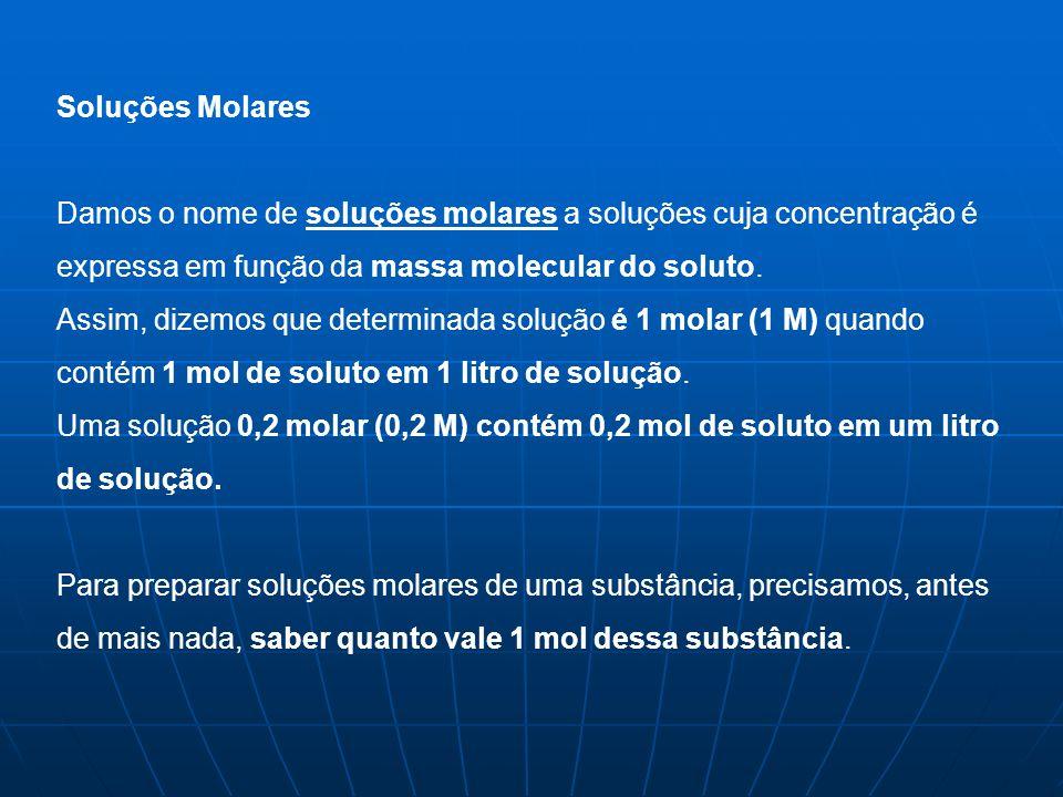Soluções Molares Damos o nome de soluções molares a soluções cuja concentração é expressa em função da massa molecular do soluto.