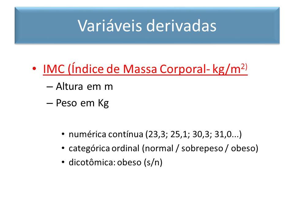 Variáveis derivadas IMC (Índice de Massa Corporal- kg/m2) Altura em m