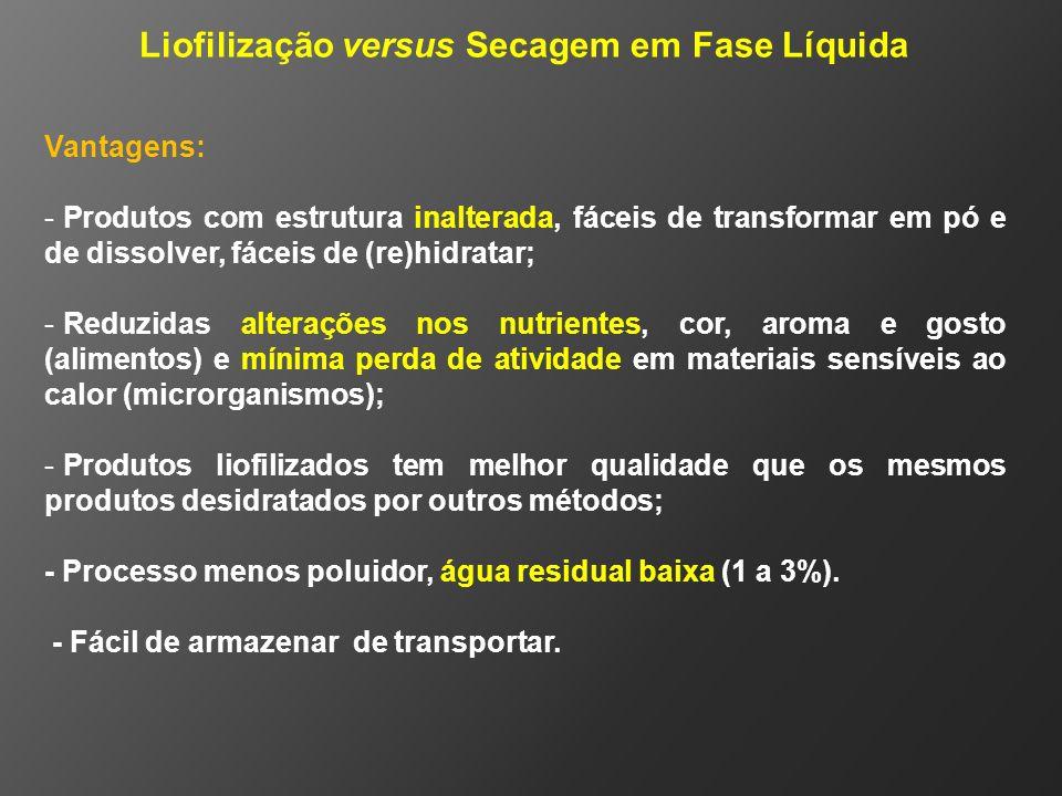 Liofilização versus Secagem em Fase Líquida