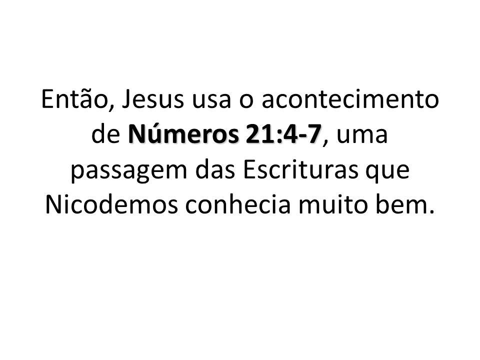 Então, Jesus usa o acontecimento de Números 21:4-7, uma passagem das Escrituras que Nicodemos conhecia muito bem.