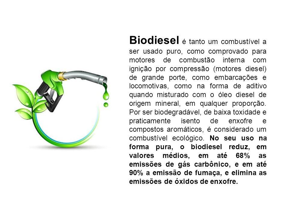 Biodiesel é tanto um combustível a ser usado puro, como comprovado para motores de combustão interna com ignição por compressão (motores diesel) de grande porte, como embarcações e locomotivas, como na forma de aditivo quando misturado com o óleo diesel de origem mineral, em qualquer proporção.