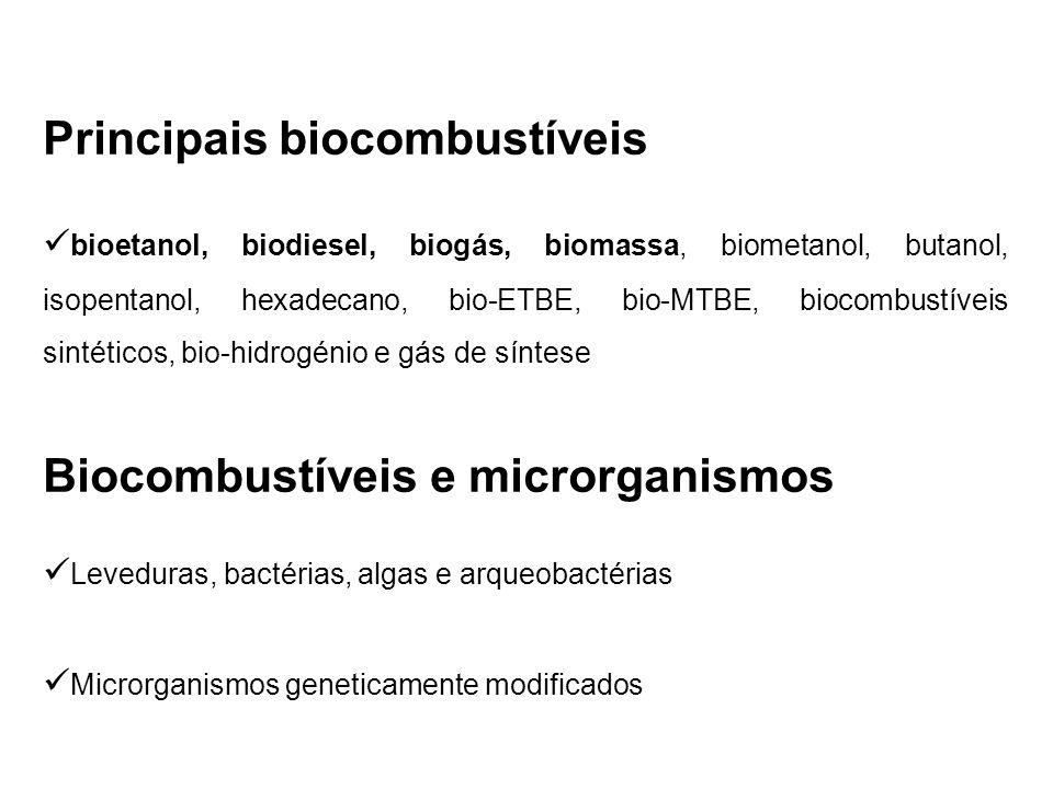 Principais biocombustíveis