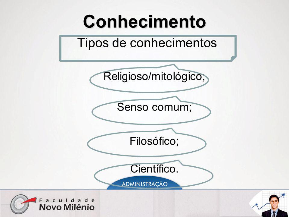 Conhecimento Tipos de conhecimentos Religioso/mitológico; Senso comum;