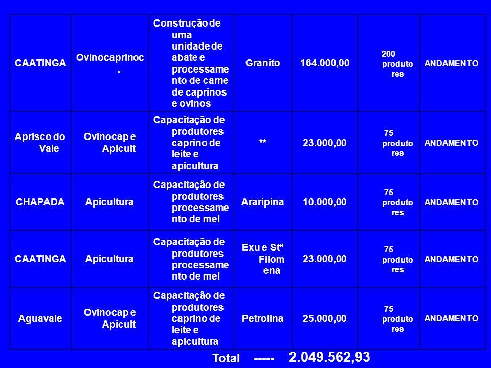 2.049.562,93 Total ----- CAATINGA Ovinocaprinoc.