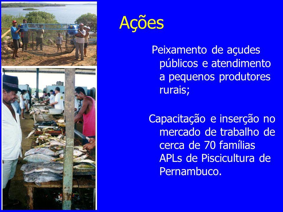 Ações Peixamento de açudes públicos e atendimento a pequenos produtores rurais;