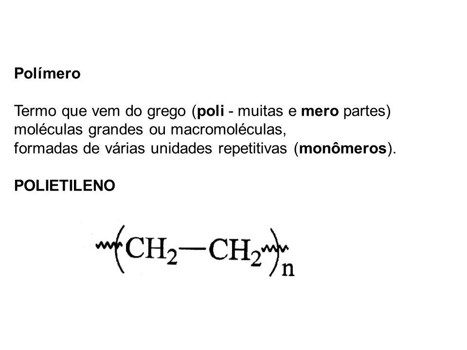 Polímero Termo que vem do grego (poli - muitas e mero partes) moléculas grandes ou macromoléculas,