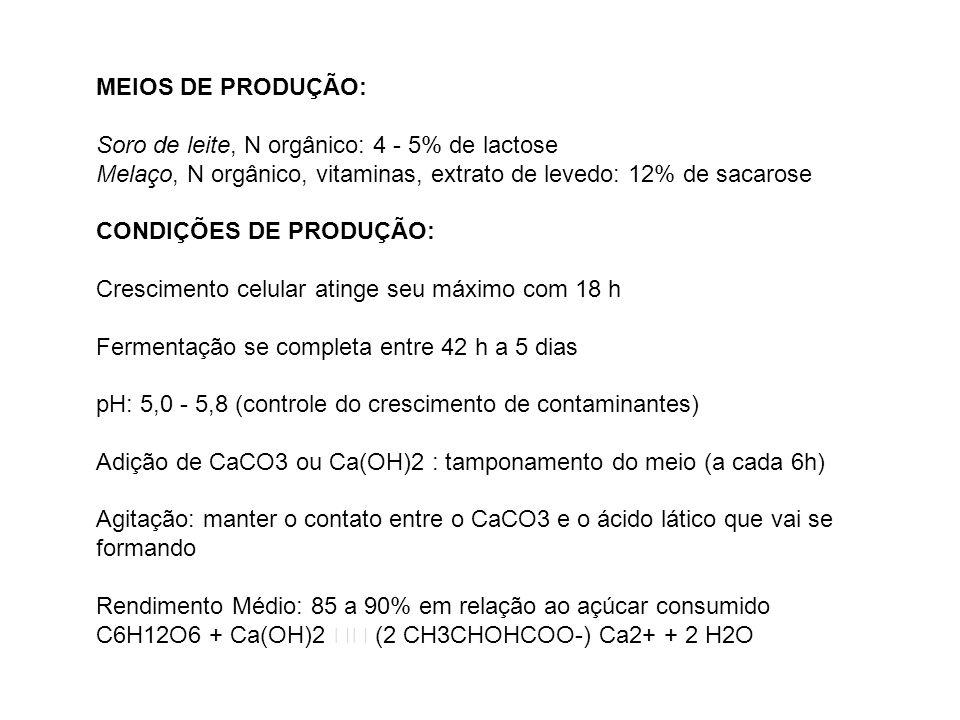 MEIOS DE PRODUÇÃO:Soro de leite, N orgânico: 4 - 5% de lactose. Melaço, N orgânico, vitaminas, extrato de levedo: 12% de sacarose.