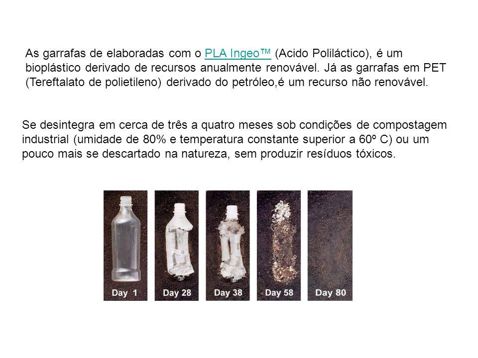 As garrafas de elaboradas com o PLA Ingeo™ (Acido Poliláctico), é um bioplástico derivado de recursos anualmente renovável. Já as garrafas em PET (Tereftalato de polietileno) derivado do petróleo,é um recurso não renovável.