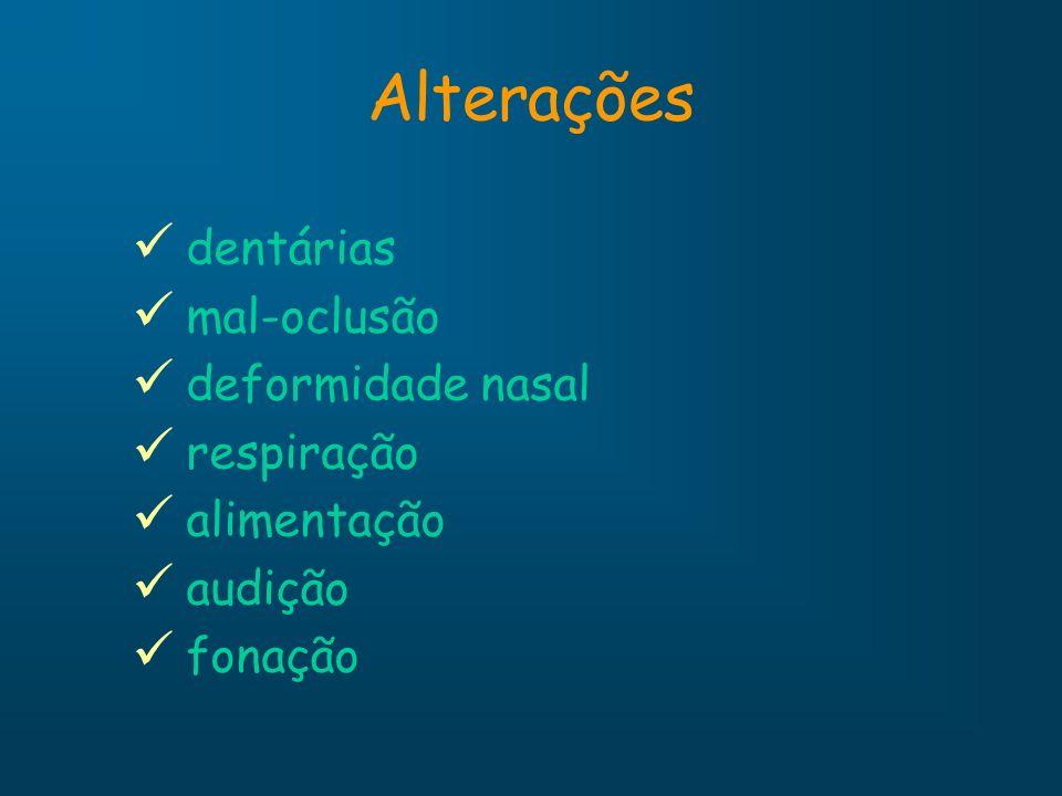 Alterações dentárias mal-oclusão deformidade nasal respiração