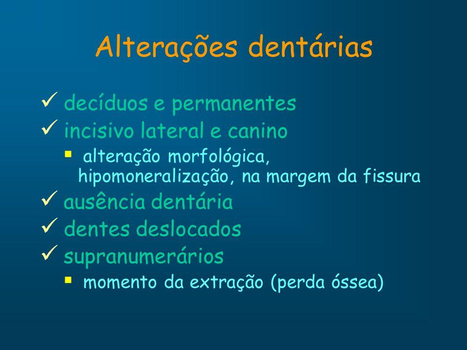 Alterações dentárias decíduos e permanentes incisivo lateral e canino